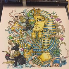 Awesome acient Egypt colouring page which was coloured by @guigui304 with their Chameleon Pens. #coloriage #chameleonpens #imagimorphia #patience #egypt #pharaon #colouring