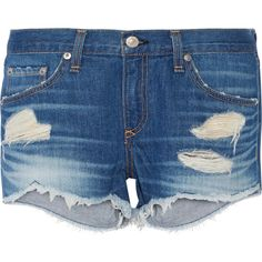 Rag & bone Cut-off denim shorts ($230) ❤ liked on Polyvore featuring shorts, bottoms, short, blue, ripped jean shorts, short shorts, jean cutoff shorts, cut off denim shorts and distressed denim shorts