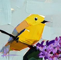 "Daily Paintworks - ""Yellow Warbler no. 71 Painting"" - Original Fine Art for Sale - © Angela Moulton"