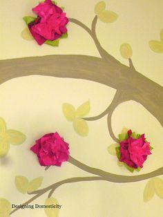 tissue paper flowers on mural tree