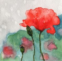 Items similar to Poppy Temptation 10 art Giclee PRINT from originl watercolor painting on Etsy Easy Watercolor, Watercolor Sketch, Watercolor Artists, Watercolor Flowers, Watercolor Paintings, Watercolours, Acrylic Paintings, Pictures Of Poppy Flowers, Pink Flowers