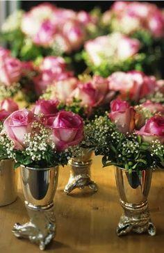 Roses in Silver Stirrup Cups