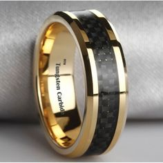 black tungsten and gold mens wedding bands