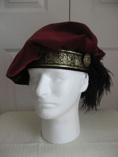 NEW BURGUNDY RENAISSANCE MEDIEVAL TUDOR FLOPPY MUFFIN HAT CAP COSTUME SIZE XL