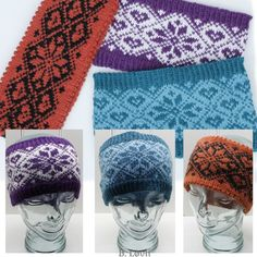 Selbu i mitt hjerte Pannebånd Knitting Patterns Free, Free Knitting, Knit Crochet, Crochet Hats, Dog Jumpers, Knit Picks, Knitted Headband, Ear Warmers, Mittens