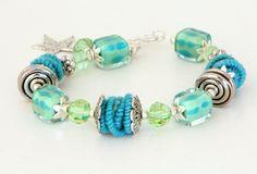 Lampwork & Fiber Bead Bracelet Lampwork Jewelry Fiber Beads Turquoise Beaded Jewelry
