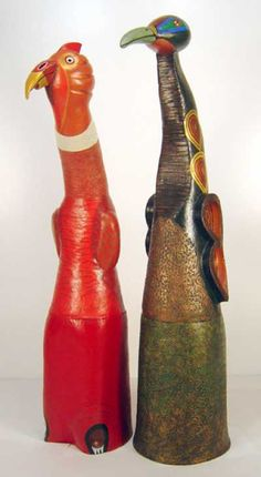 Industrial extrusion terracotta Interior Sculptures #sculpture by #sculptor Barbara Kobylinska titled: 'Firebird (Colourful Fun Abstract Naive Bird statues)' £5367 #art