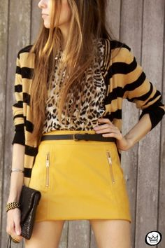 Mustard, stripes, leopard, and zippers