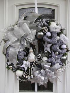 Türkranz,Weihnachten,Weihnachtskranz Grau-Silber,Tilda-Art | eBay