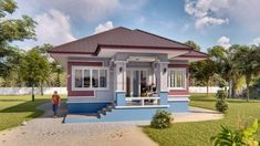 Three Bedroom Contemporary House with Spacious Terrace - Cool House Concepts Two Storey House Plans, Double Storey House, Narrow Lot House Plans, Bungalow House Plans, Bungalow House Design, Small House Design, Two Bedroom House, Bedroom Small, Model House Plan
