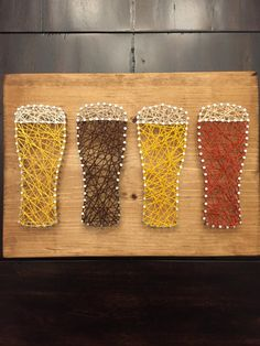Handmade beer string art with sawtooth hanger  Horizontal piece 9.5 by 13  Add gift wrap and/or a card to your order by adding the gift wrap item to your cart.  Please note items are made to order and may appear slightly different than pictured.
