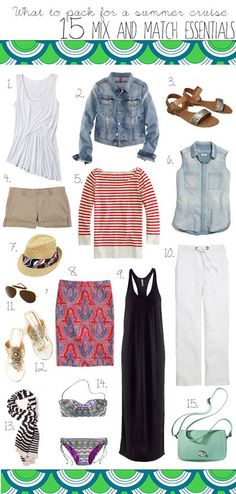 Ask BB: What to Pack for A Summer Cruise 15 Mix and Match Essentials Love 'em all! Holiday Outfits, Summer Outfits, Cute Outfits, Holiday Clothes, Travel Wardrobe, Capsule Wardrobe, Capsule Outfits, Vacation Outfits, Vacation Wear