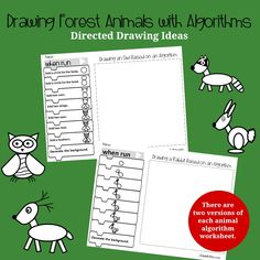 This set of direct drawing ideas features forest animals. The directions of creating each of the animals is displayed on Blockly coding blocks. Division Activities, Stem Activities, Kindergarten Activities, Fraction Games For Kids, Planet Crafts, Planet Order, Kindness Activities, Thanksgiving Coloring Pages, Directed Drawing