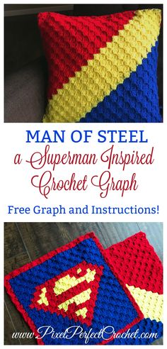 Need a quick and easy Superman crochet project? Check out this vibrantly striped panel to help you craft an invincible pillow project, Crochet C2c Pattern, Pixel Crochet, Afghan Crochet Patterns, Crochet Afghans, Crochet Blankets, Crochet Geek, Boy Blankets, Crochet Edgings, Crochet Cushions