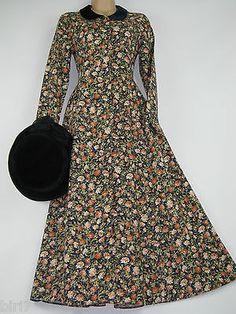 LAURA ASHLEY VINTAGE AUTUMN MEADOW EDWARDIAN STYLE LONG-LENGTH DRESS, 8