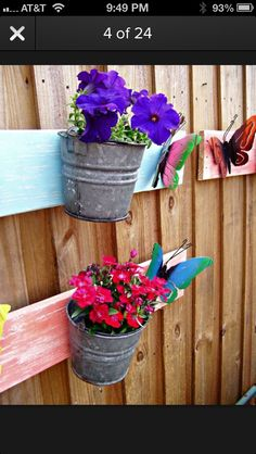 A small bucket can be a wonderful planter. To add a little color and to make the arrangement more eye-catching, you can try creating some lovely butterflies to go with your planter. You can cut them from scrap metal and then prime and paint them. Attach them to a wooden board that you have previously painted as well and mount the bucket planter there as well.