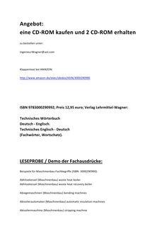 Halber Preis / sommeraktion / sommer special: 1x cd rom kostenlos / umsonst (technisches woerterbuch)