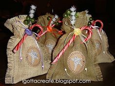 Star of Wonder Burlap Bags; how to...these are so sweet, love them!