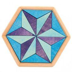 Puzzel hexagon blauw klein
