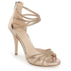 """Pelle Moda 'Jolene' Crystal Embellished d'Orsay Sandal, 3 3/4"""" heel ($180) ❤ liked on Polyvore featuring shoes, sandals, platinum gold leather, leather shoes, high heel sandals, high heel platform sandals, pelle moda sandals and high heel stilettos"""