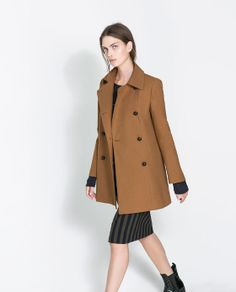 STUDIO THREE QUARTER LENGTH COAT WITH SHIRT - STYLE COLLAR - Woman - New this week | ZARA United States