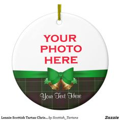 Lennie Scottish Tartan Christmas Photo Double-Sided Ceramic Round Christmas Ornament