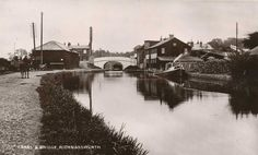 Hertfordshire, Rickmansworth, old photo of the canal and bridge - horse rider on the canal path