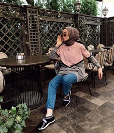 Image may contain: 1 person, sitting, shoes, child and outdoor Casual Hijab Outfit, Ootd Hijab, Hijab Chic, Hijab Trends, Hijab Fashionista, Hijab Fashion Inspiration, Tumblr Outfits, Muslim Fashion, Holiday Fashion