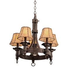 Kalco Americana 5 Light Shaded Chandelier Finish: Antique Copper, Shade Type: Clear Glass Hurricane for Candle
