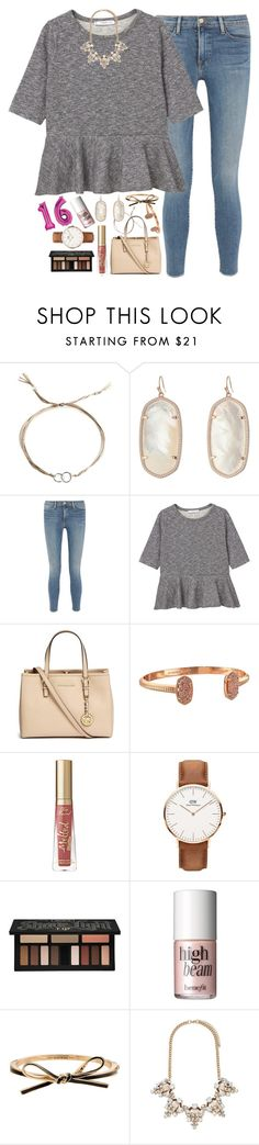 """""""today's my sweet 16!!"""" by sdyerrtx ❤ liked on Polyvore featuring Dogeared, Kendra Scott, Frame, MANGO, Michael Kors, Daniel Wellington, Kat Von D, Benefit, Kate Spade and Forever 21"""
