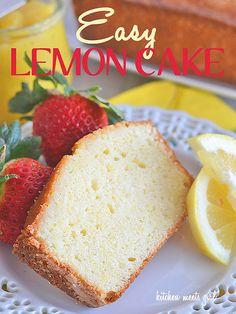 Easy Lemon Cake from www.kitchenmeetsgirl.com - this cake mixes up in a flash, and the full, crisp lemon flavor just screams spring!  #recipe #cake #lemon