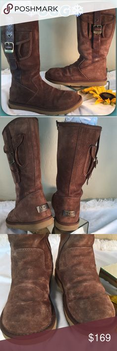 UGG❄️Brown Distressed Leather Boots UGG❄️Cool Brown Suede Leather Boots with Rubber traction sole.  Cool pocket design.  Gently loved worn a couple in times& shearling is in wonderful condition. UGG Shoes Winter & Rain Boots