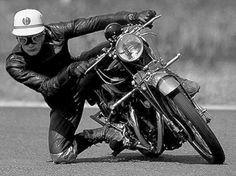 John Surtees getting his knee down on a Vincent Black Lightning | 1950's | motorcycles | vintage | classic