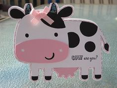 Cricut Cow Card by Purple Monkey Moments. Create a Critter Cartridge. Card Making Inspiration, Making Ideas, Create A Critter, Kids Cards, Fun Cards, Baby Cards, Note Cards, Cricut Craft Room, Miss You Cards