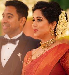 Dm for credit . Bridal Sarees South Indian, Bridal Silk Saree, Indian Bridal Outfits, Saree Wedding, Christian Wedding Sarees, Christian Bride, Christian Weddings, Engagement Saree, Engagement Dresses