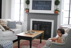 Love the chalk board over the fireplace and the grey fireplace // grace happens White Rooms, White Walls, Grey Fireplace, Living Room Arrangements, Living Room Red, Living Room Sectional, Living Room Inspiration, Kitchens, Chalk Board