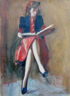 Leitura Gino Bruno (Itália/Brasil, 1899-1977) óleo sobre tela, 65 x 50 cm