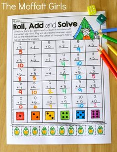Roll, Add and Solve (addition up to 10)- Avoid the Summer Slide! Help your students stay on track during summer break with these FUN activities! Perfect for Kindergarten going into 1st Grade!