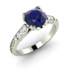 Round Sapphire Ring in 14k White Gold with SI Diamond