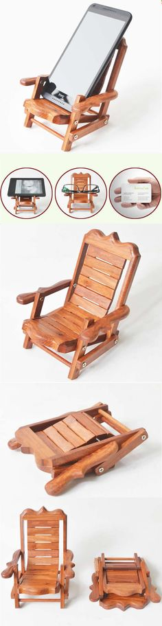 Wooden Beach Deck Chair Desk Mobile Phone Display Holder Stand
