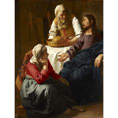 """Obraz reprodukcja na płótnie """"Chrystus w domu Marty i Marii"""" Jan Vermeer - dostępny w rozmiarach 80x60, 70x50, 60x45 i 40x30 cm #fedkolor #reprodukcje #obraz #na #płótnie #sztuka #art #Chrystus #Maria #Marta #chrześcijaństwo #religia #reprodukcja #Vermeer #JanVermeer"""
