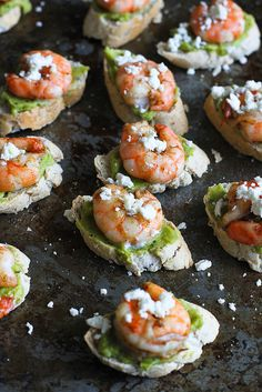 Easy Guacamole Spiced Shrimp Crostini recipe…These will disappear in minutes at your Super Bowl party! 44 calories and 1 Weight Watcher SmartPoints -