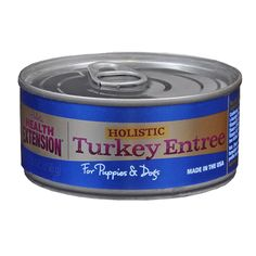 Health Extension Dog Food, canned turkey entree for dogs. All natural and American made for a healthy life!