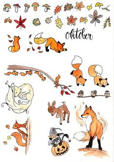 Stickerset 2 Autumn Forest - Embroidery autumn Beautiful autumn stickers for your Bullet Journal (or other ;-)) The stickers are - Bullet Journal 2019, Bullet Journal Spread, Bullet Journal Ideas Pages, Bullet Journal Layout, Bullet Journal Inspiration, Autumn Bullet Journal, Bullet Journal Leaves, Bullet Journal Halloween, Bullet Journal September