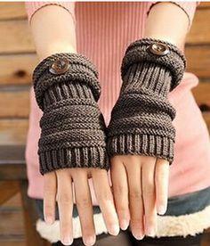 Cheap Spring Autumn Winter Women Wool Gloves Button Knit Arm Mid Extend Half Finger Gloves For Women Semi Finger Gloves, Buy Quality Gloves And Mittens… Gilet Crochet, Crochet Mittens, Fingerless Mittens, Knit Crochet, Wool Gloves, Knitted Gloves, Sport Winter, Gloves Fashion, Wrist Warmers