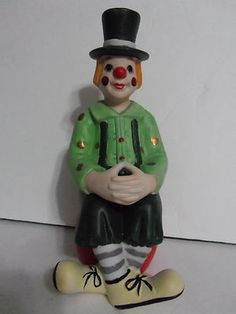 Vintage Bisque Porcelain Clown Sitting On Ball Figurine  $13.99/FS