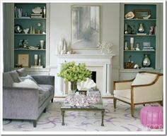 Love the painted bookshelves!