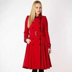 Shop the ad: Red belted fit and flare coat