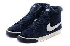 Cheap 371761-669  Nike Blazer MID suede fur navy white men shoes
