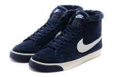 Cheap 371761-669  Nike Blazer MID suede fur navy white men shoes